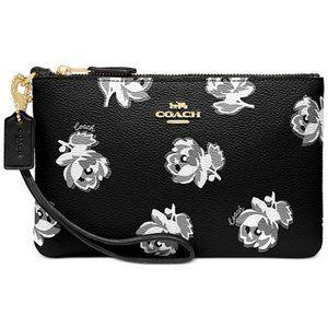 Handbags - Coach Floral-Print Wristlet - Black Floral Print